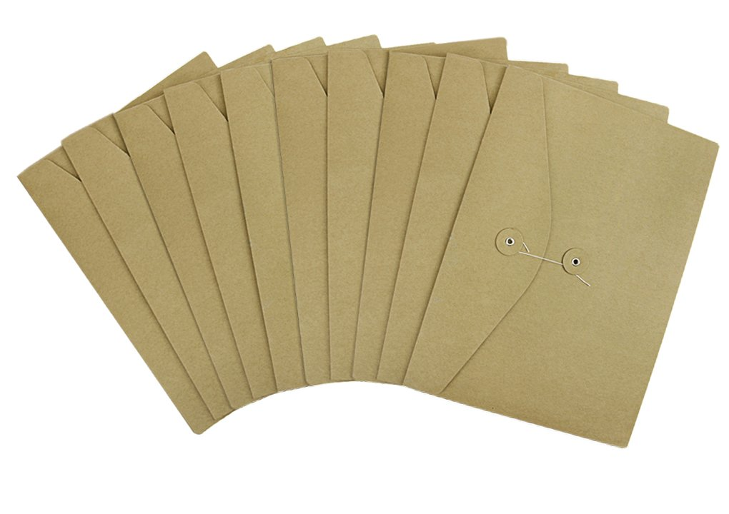 10 Pack Kraft Paper File Folder A4 Size Horizontal Document Bill Resume Storage Organizer Envelopes with String and Clasp,School Office Project Pocket Folders Bag
