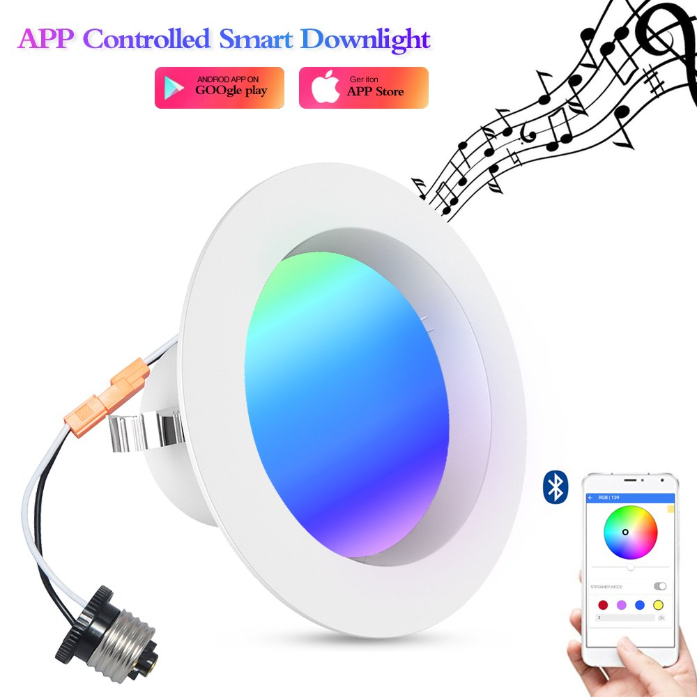 Unibank Smart life Smart Downlight, iLintek Bluetooth Smart Multicolor Full Function LED Downlight 4Inch 9W Round Household Recessed Lighting App Controlled- Festival lighting No Hub Required