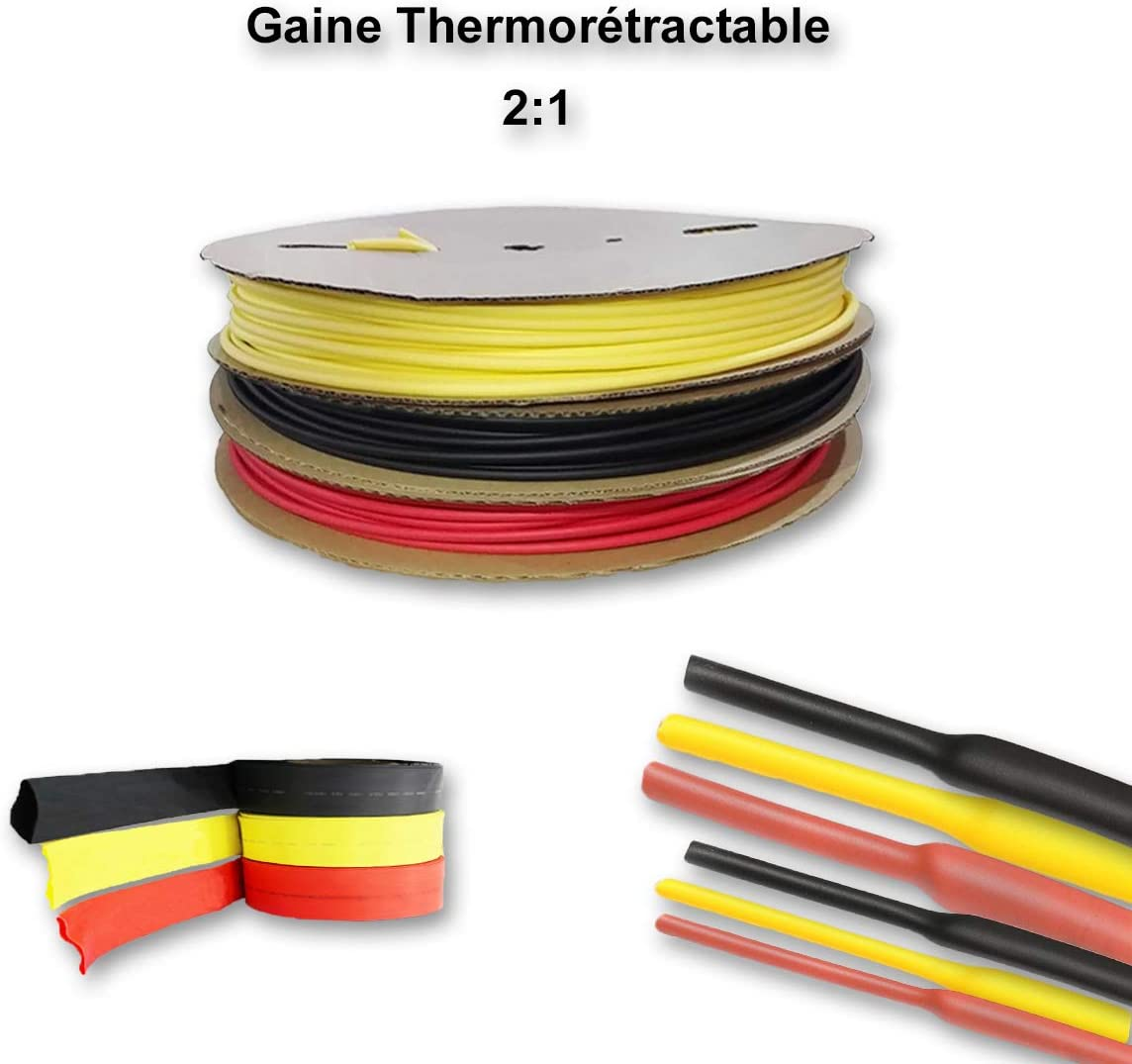 Gaine thermor/étractable 2:1 Noire sans colle /Ø6mm, 10 M/ètres - /Ø 1MM /à 13MM de 0,5m /à 10m