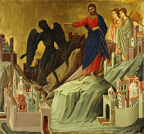 [Oil Painting 'Duccio Di Buoninsegna - The Temptation Of Christ On The Mountain, 1308-11' 24 x 26 inch / 61 x 65 cm , on High Definition HD canvas prints is for Gifts And Bar, Basement And Powd] (Mounted Animal Head Costume)