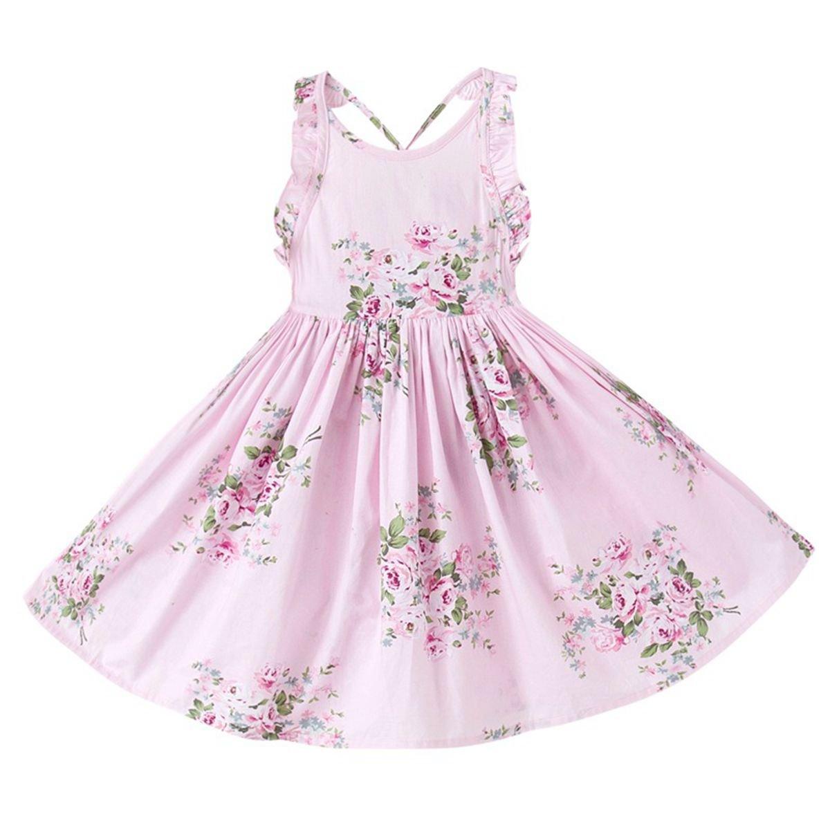 May zhang Little/Big Girls' Dress Sleeveless Cotton Dress,Girls Countryside Overalls Flower Print for Summer (Pink, 3T)