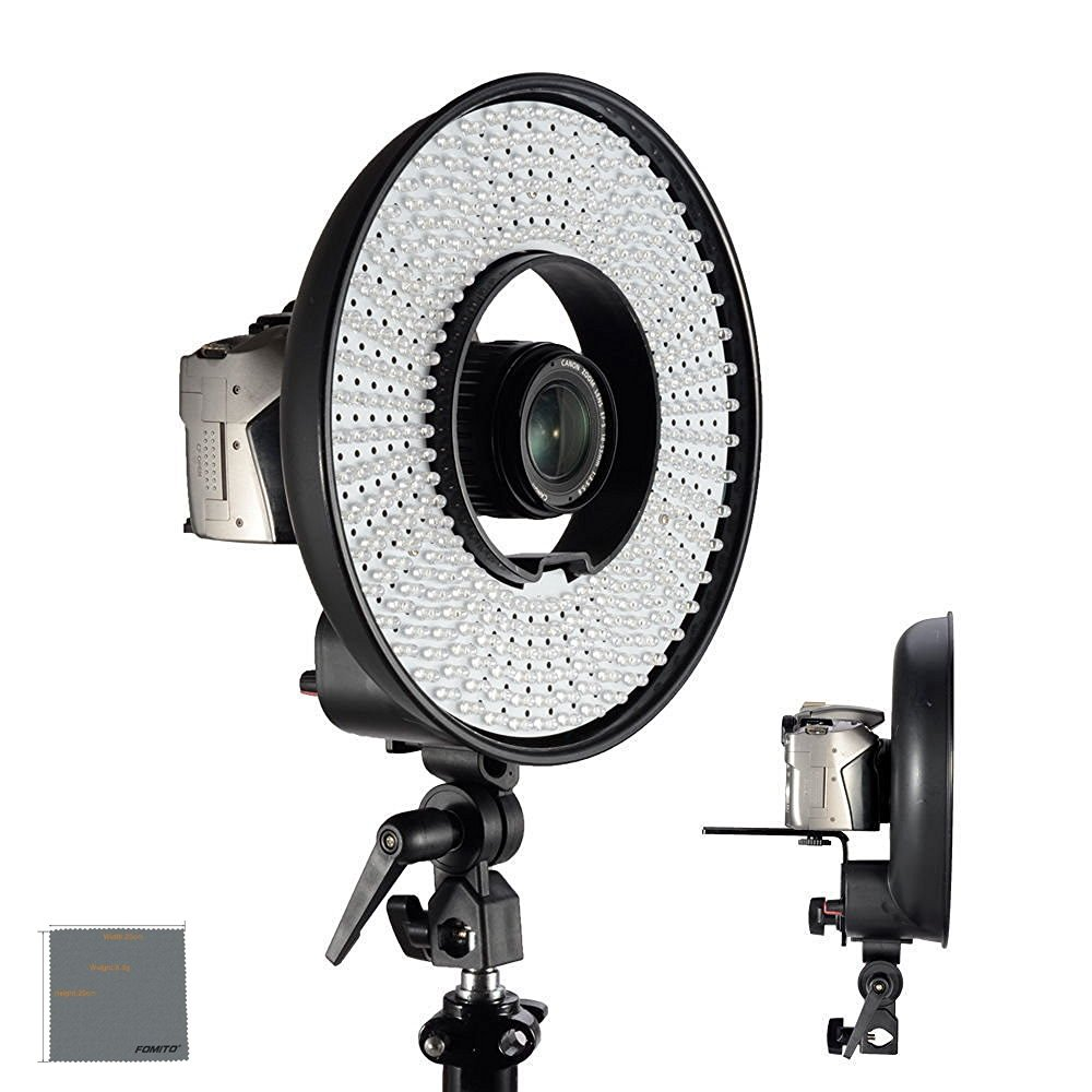 Fomito Falcon Eyes DVR-300 LED Ring Light 5500k Color temperature Photography Led Video Ring Light with Camera Bracket