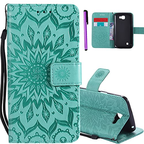 ISADENSER LG K4 (2016) Case LG Optimus Zone 3 Case [Wallet Stand] as Gift With Shockproof Credit Card Holder Flip Magnetic Closure Protection PU Leather Wallet Case Cover for LG Spree Green Sunflower (Phone Case Charger Lg Optimus)