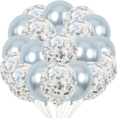 TONIFUL 12 inch Silver Confetti Balloons and Silver Metallic Latex Helium Balloons Kit for Wedding Birthday Graduation Party Decorations(50 Pcs): Home & Kitchen