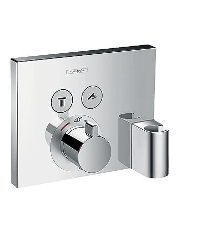 Hansgrohe 15765000 ShowerSelect termostato con 2 llaves de paso, toma de agua y soporte,
