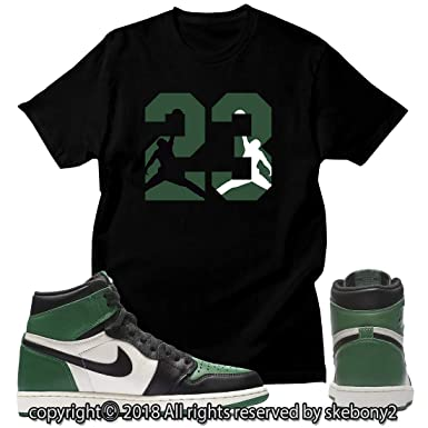 meet f535f bcfd7 Custom T Shirt Matching Style of Air Jordan 1 Retro High Pine Green JD 1-22-47  at Amazon Men s Clothing store