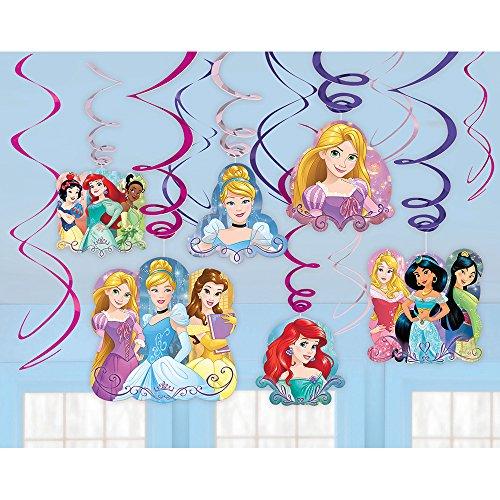 Disney Princess Sparkle Swirls Birthday Party Decorating Kit (12 Pack), Purple/Pink, -