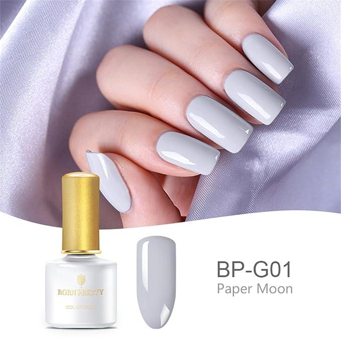 BORN PRETTY Nail Gel Polish Set 12 colores Serie gris Nail Art Pure Color Soak Off UV LED Curado Kit de barniz de laca: Amazon.es: Belleza