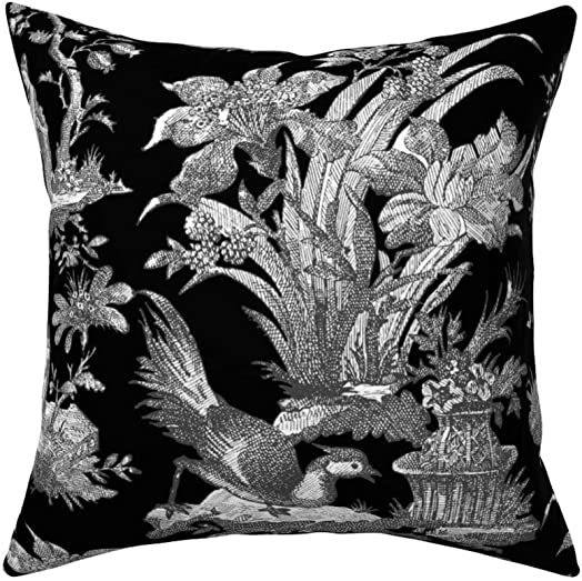 Roostery Throw Pillow, Toile Chinoiserie Asian Black and White Black Modern Chinese Print, Velvet, Knife Edge Accent Pillow 18in x 18in with Insert