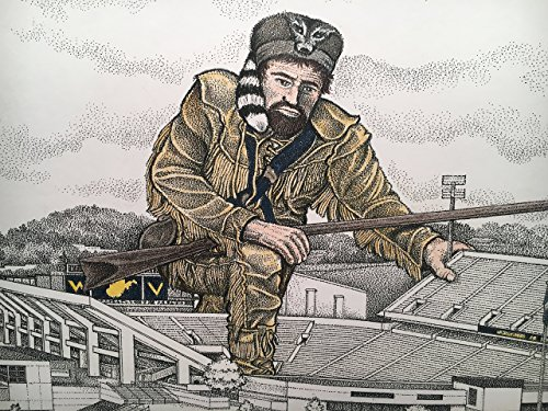 West Virginia football stadium - pen and ink drawing with mountaineer in color by Campus Scenes