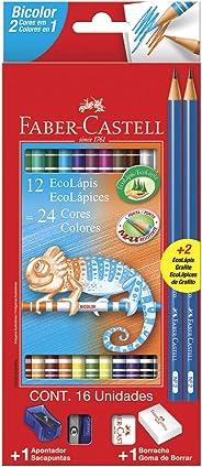 Lápis de Cor, Faber-Castell, EcoLápis Bicolor, 120612+2N, 12 Lápis/24 Cores + 2 Lápis N°2