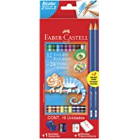 Lápis de Cor Ecolápis Bicolor 12 Lápis/24 Cores + 2 Lápis N°2, Faber-Castell