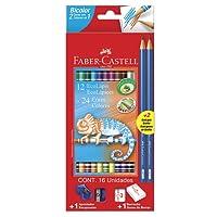 Lápis Bicolor com 24 Cores Kit Escolar, Faber-Castell 120612+2N, Grafite