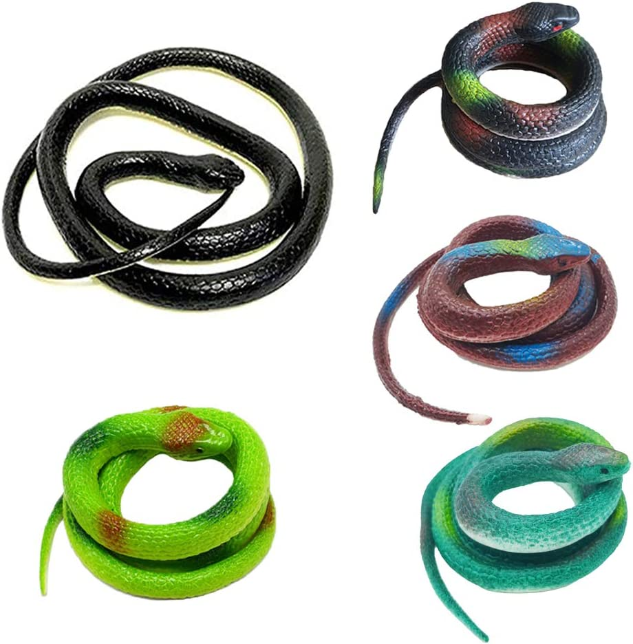 5PCS Fake Snake,Realistic Rubber Snakes,Prank Mamba Snakes Toy for Garden Decoration,Halloween Party,51 Inch and 29 Inch