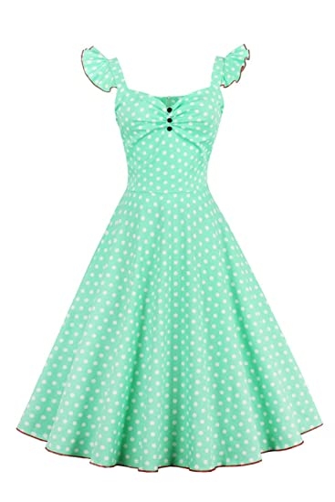 Zilcremo Womens Vintage 50s Polka Dot Swing Rockabilly Retro Party Cocktail Dress at Amazon Womens Clothing store:
