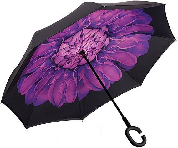 Double Layer Inverted Inverted Umbrella Is Light And Sturdy Childish Handdrawn Owl Sitting Reverse Umbrella And Windproof Umbrella Edge Night Reflect