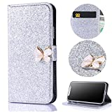 Stysen Wallet Case for iPhone X,Glitter Flip Case for iPhone X,Shiny Silver Bookstyle with Strass Butterfly Bowknot Buckle Protective Wallet Case Cover for iPhone X-Butterfly,Silver