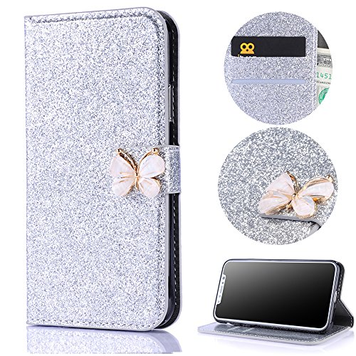 Stysen Wallet Case for iPhone X,Glitter Flip Case for iPhone X,Shiny Silver Bookstyle with Strass Butterfly Bowknot Buckle Protective Wallet Case Cover for iPhone X-Butterfly,Silver by Stysen