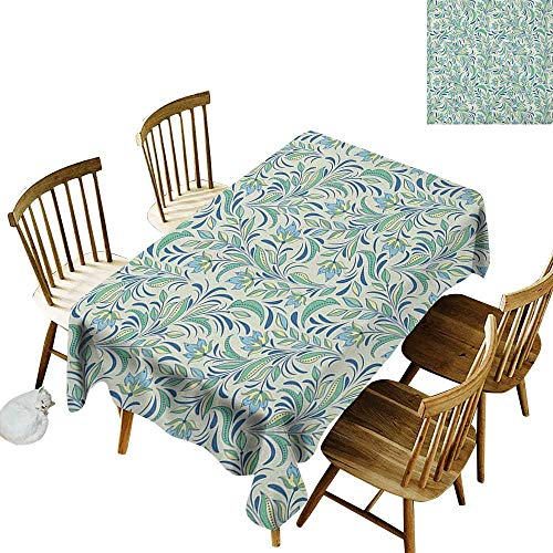 (kangkaishi Washable Long Tablecloth Dinner Picnic Home Decor Soft Toned Spring Revival Seasonal Petals Bitter Gourd Blooms Foliage Illustration W14 x L108 Inch Multicolor)