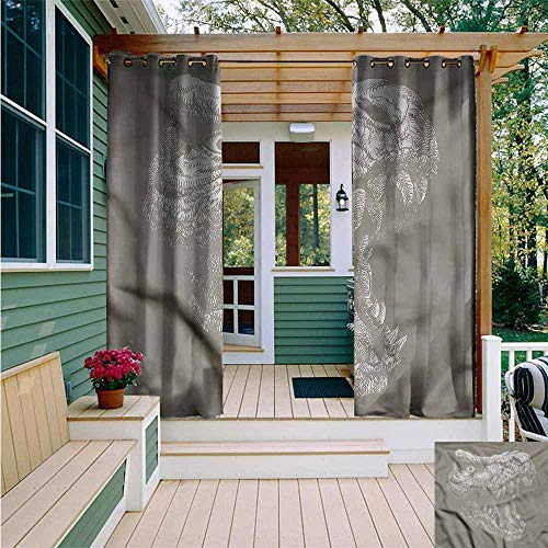 Beihai1Sun Outdoor Curtains,Dinosaur Big Jaw Wide Eyed Head,for Patio/Front Porch,W108x96L