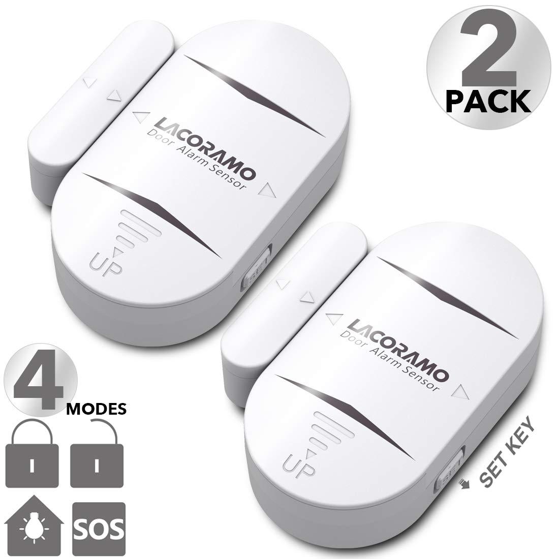 LACORAMO DA-05 Alarma de Puerta y Ventana, Set de 2 Sensor de Puerta Inalámbrico -130 Db Intensidad Acústica - 4 Modos de Trabajo Alarma De Seguridad Antirrobo de Puerta
