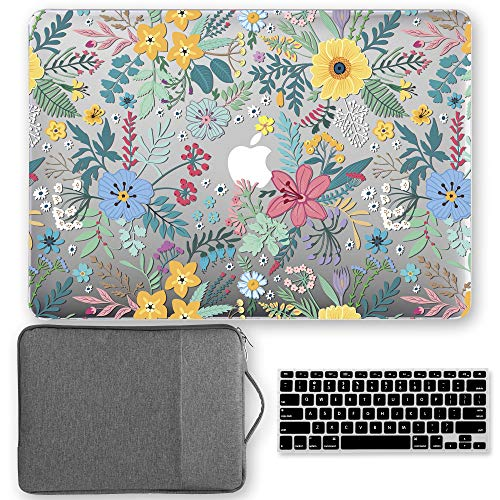 GMYLE MacBook Air 13 Inch Case A1466 / A1369 Older Version 2010-2017 3 in 1 Bundle, Hard Shell, Ultra- Thin Keyboard Cover and 13-13.3 Inch Carrying Sleeve Bag with Handle - Cheery Fresh Floral Set