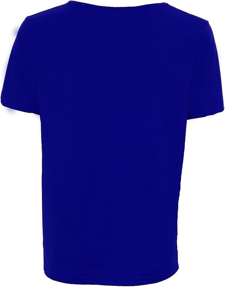 Zafiro Mujer Holgado Crapé Túnica Elástica Liso holgado Manga Corta mujer Camiseta - Azul, EU 36/UK 8: Amazon.es: Ropa y accesorios