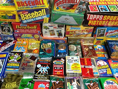 (MLB Baseball (100) Cards in Sealed Wax Packs Topps Donruss Score Upper Deck)