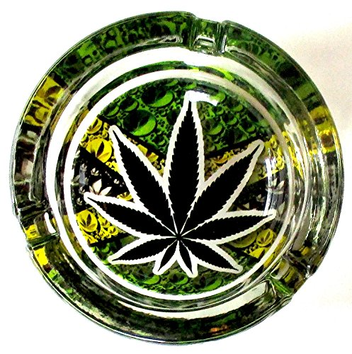 Marijuana-Weed-Green-Yellow-Round-Glass-Ashtray