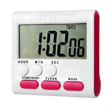 Reloj de cocina digital con pantalla LED digital grande con alarma y soporte magnético, cuenta