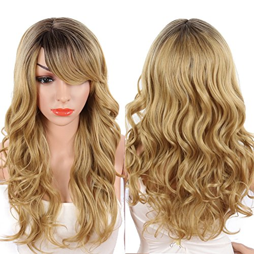 KRSI Ombre Blonde Synthetic Wigs for Black Women Dark Roots Long Natural Wavy Full Synthetic Hair Wigs For Women Side Parting With Bangs Heat Friendly Replacement Wigs 24 Inches (Ombre Blonde F27/613) (Blonde Nicki Minaj Wig)