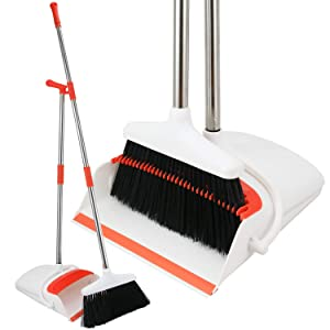 Broom and Dustpan Set - Strongest NO MORE TEARS 80% Heavier Duty - Upright Standing Dust Pan with Extendable Broomstick for Easy Sweeping - Easy Assembly Great Use for Home Kitchen Room Office Lobby