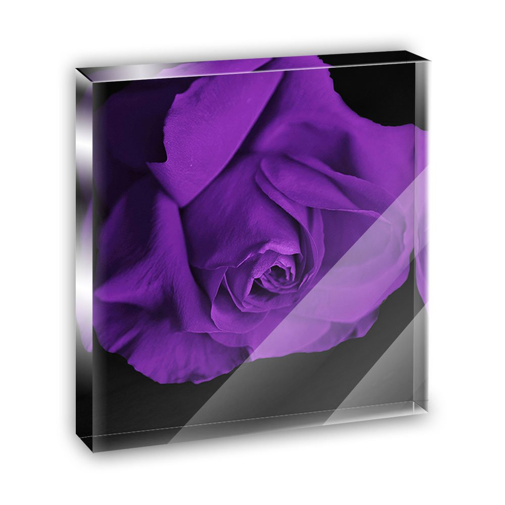 Rose Flower Purple Petals Acrylic Office Mini Desk Plaque Ornament Paperweight
