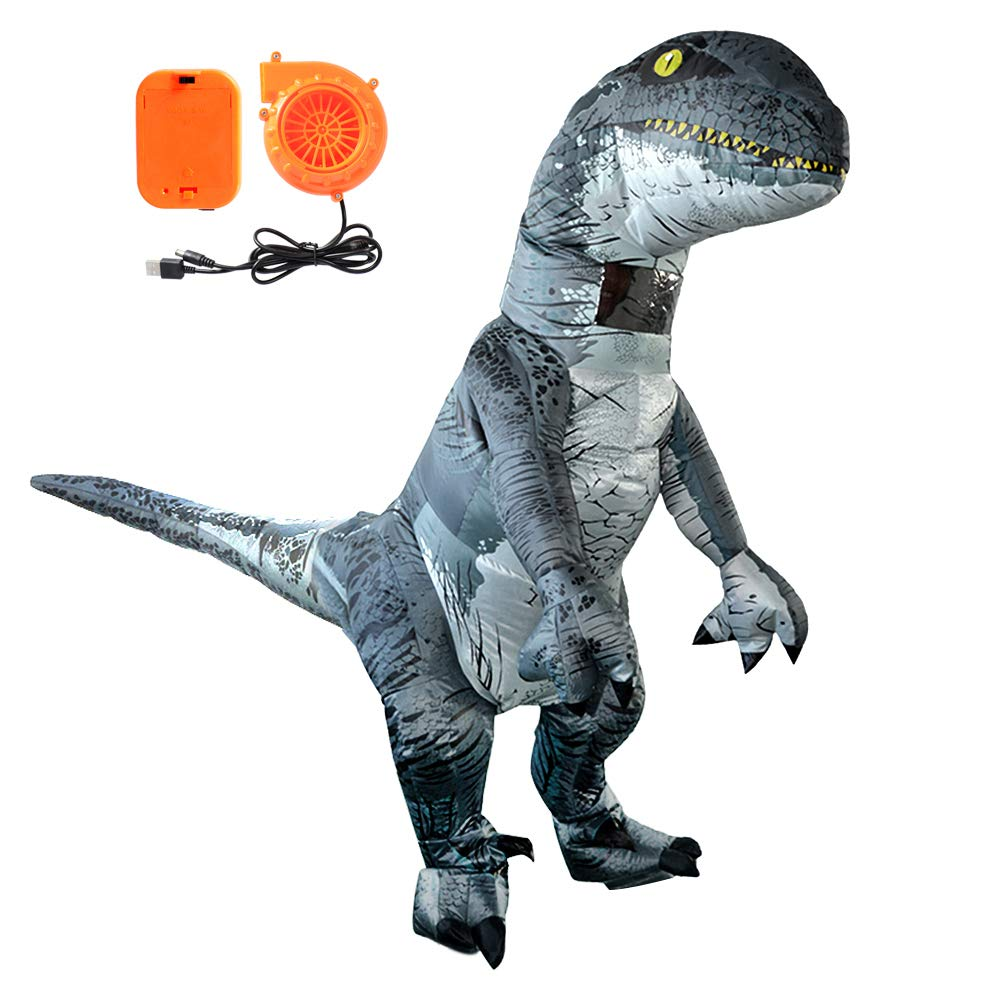 MYKEY Adults Velociraptor Costume Dinosaur Shape Inflatable Costume Halloween Horror Party Outfit Suit for Adults
