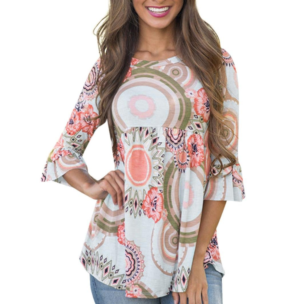 6dc3792fa01 Hatoys Fashion Flare Sleeve Women O Neck Floral Print Casual Tops T-Shirt  Blouse at Amazon Women s Clothing store