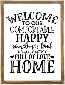 """Welcome to Our Happy Home Wood Framed Welcome Sign for Home Decor,Decorative Hanging Welcome Sign,Welcome Wall Art 12"""" x 16"""""""