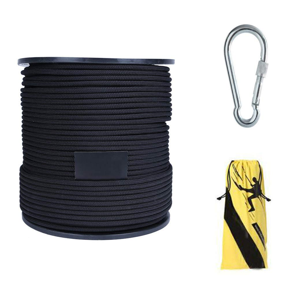 アウトドアスタティッククライミングロープ、8ミリメートル多機能洗濯物に耐えるスピードドロップロープ緊急脱出用ロープエスケープケイビングキャンプエンジニアリングレスキュー用品、黒,70m  70m