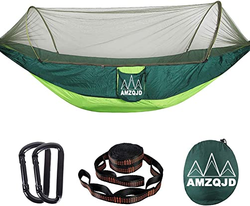 Camping Hammock with Mosquito Net, AMZQJD Portable Nylon Double Hammock with Tree Straps, Carabiners and Storage Bag for Indoor, Outdoor, Hiking, Travel, Party, Beach Hold Up to 660 lbs Fruit Green