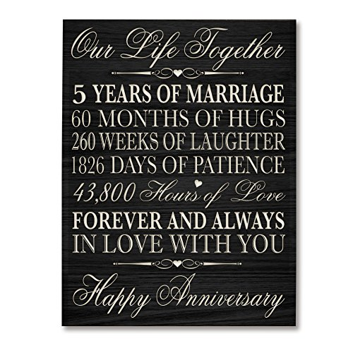 5th Wedding Anniversary Wall Plaque Gifts for Couple, 5th Anniversary Gifts for Her,5th Wedding Anniversary Gifts for Him 12″ W X 15″ H Wall Plaque By LifeSong Milestones (Black)