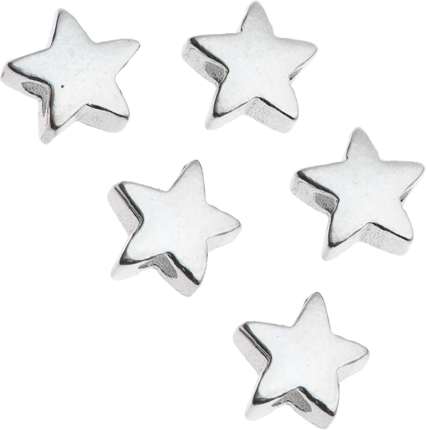 2 TINY SMALL STERLING SILVER STAR SPACER BEADS 5 MM
