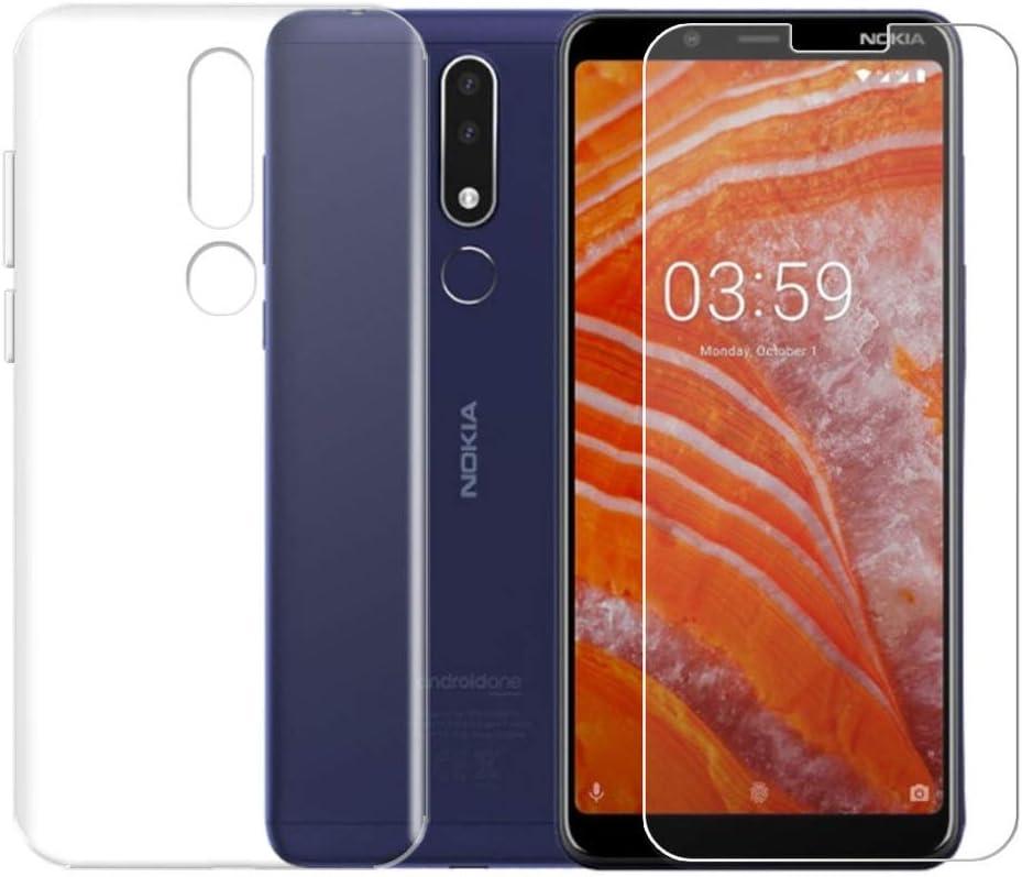 QFSM Funda para Nokia 3.1 Plus Silicona Carcasa TPU Case Cover + 1 ...