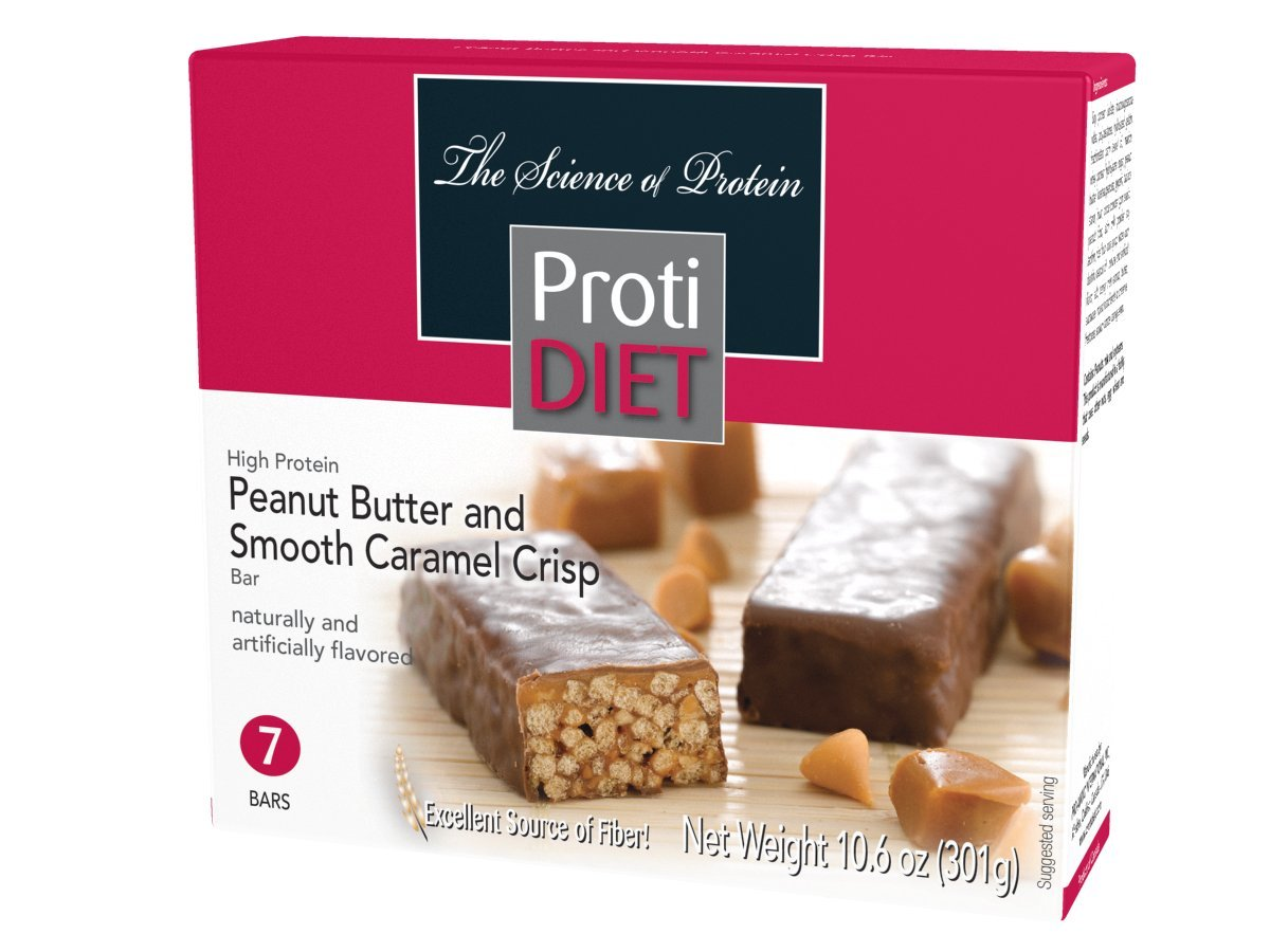 Protidiet Peanut Butter and Smooth Caramel Crisp High Protein Bars (Box of 7) Net Wt 10.6oz by Protidiet