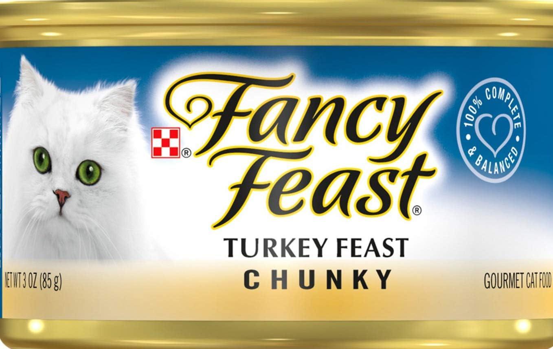 30 Cans of Fancy Feast Chunky Turkey Feast Canned Cat Food, 3-oz, ea