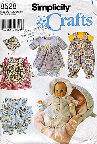 Simplicity Crafts Pattern 8528 Wardrobe for Baby Dolls in Three Sizes -