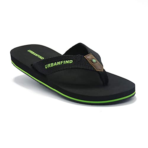 515925e144e6 URBANFIND Men s Thong Sandals Comfortable TPR Non-Slip Flip Flops Athletic  Supportive Beach Slippers Black