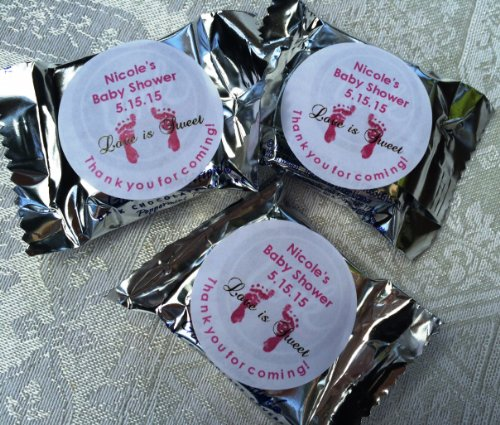 120 FOOTPRINTS BABY Shower Circle Stickers/Favors for YOUR York Peppermint Patty/Patties Candy. These are PERSONALIZED stickers to make baby shower -