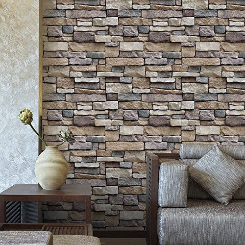 XGpie 33.7×1.47ft Modern Brick Stone Stick Wallpaper Self-Adhesive Contact Removable and Waterproof for Home Design and Room Decor(Adhesive Backed)
