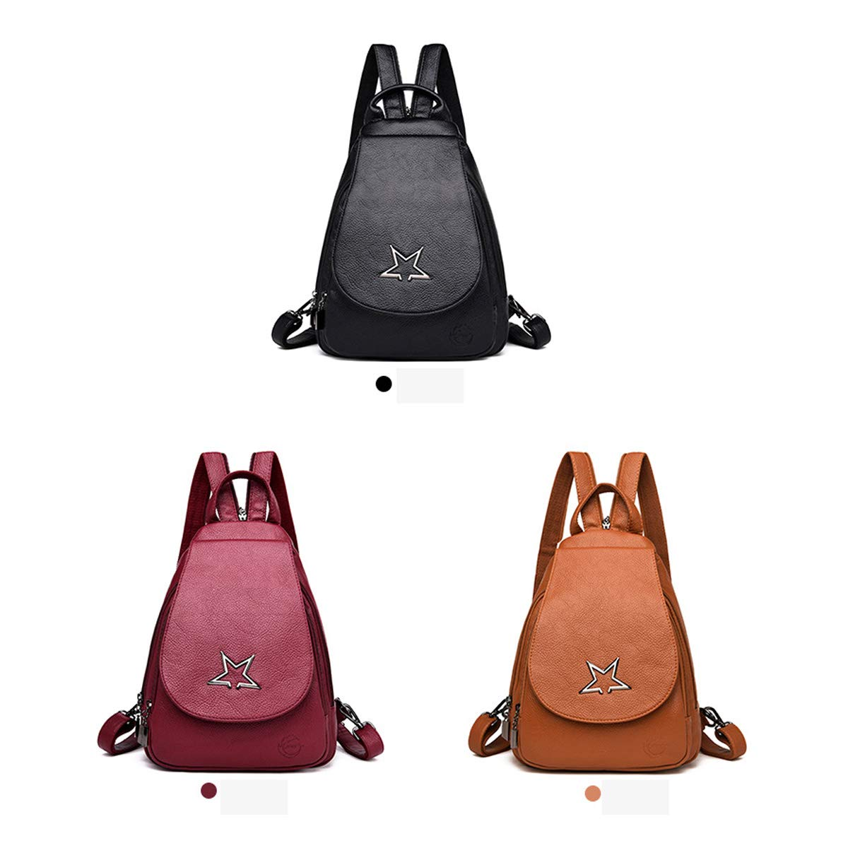 Black//Brown//Red ZHICHUANG Girls Multipurpose Backpack for Daily Travel//Travel//School//Work//Fashion//Leisure PU Leather Simple Fashion for Women /& Men