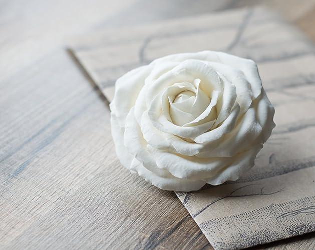 white flower rose hair clip bridal hair piece wedding flower hair clip white