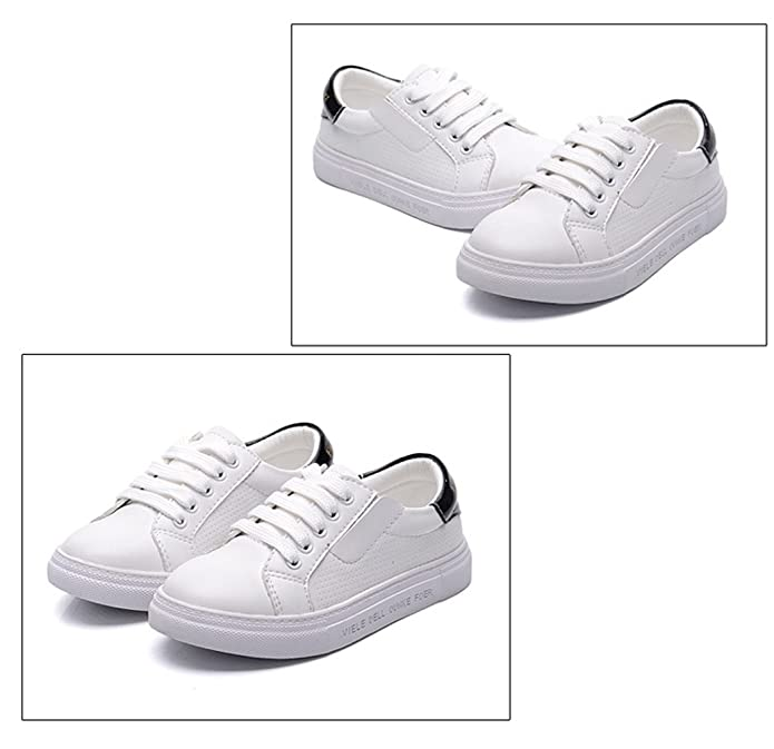 Qianliuk Kids Girls Boys White Trainers Children Shoes Comfort Leather  Lining Low Top Lace Up Microfiber Upper White Pumps Ladies plimsolls Flat  Sneaker ...